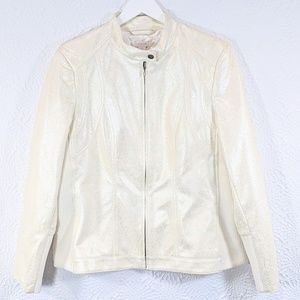 Chicos Python-Embossed Faux Leather Moto Jacket